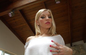 Blonde whore with a huge ass Ivana undressing her sexy body