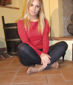 Adorable blonde foot fetish babe loves to show her pantyhose