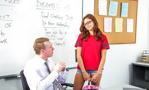 Stunning brunette schoolgirl in glasses Ariana gives a blowjob