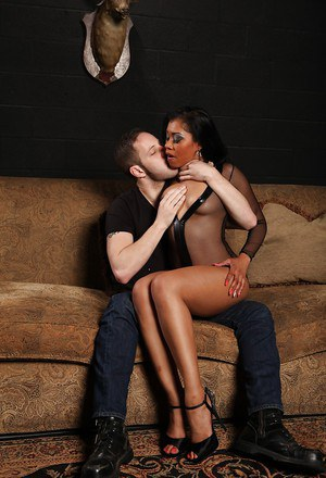 Ebony babe with a hot ass Yasmine is giving a stunning blowjob