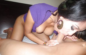 Brunette Asian Jayden Lee is pleasing her man with a blowjob in close up