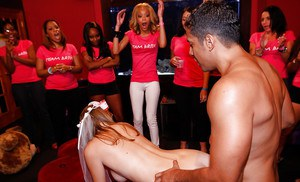 A bunch if extremely horny babes gang banging one lucky stripper