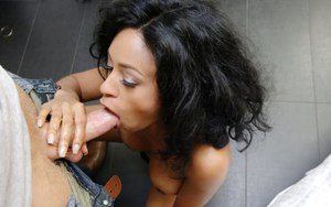 Ebony brunette Anya Ivy has her big tits and tight pussy teased