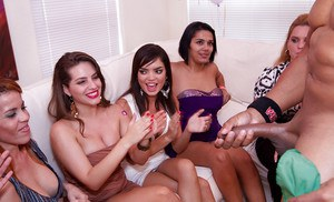 Interracial party with a bunch of horny babes doing blowjobs