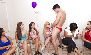 Skillful boys trying to please a group of girls by showing big cocks