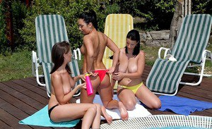 European lesbians having fun feat. Chrissy, Roseline Love and Kendra Star