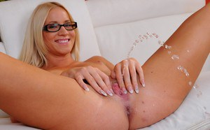 Blonde babe from Europe Kiara Lord is showing off in her glasses