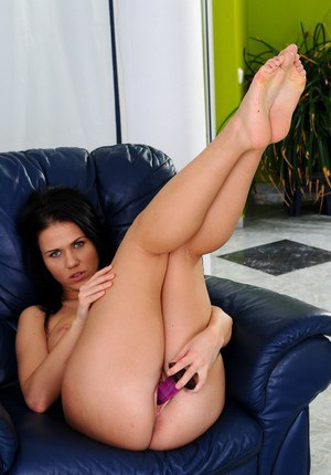 Big tits European slut Denise Sky is playing with her purple toy