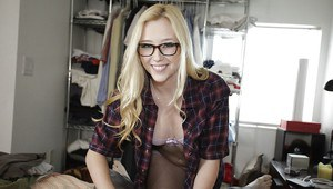 Samantha Rone is doing an amazing blowjob while wearing glasses
