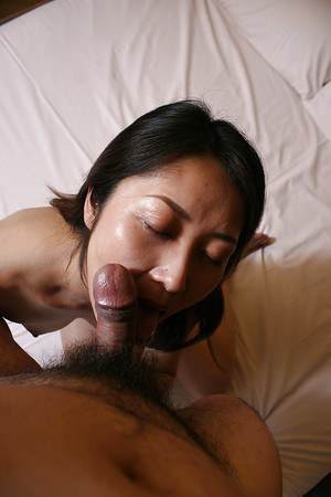 Close up blowjob from an Asian housewife Hisako Kawaguchi to her man
