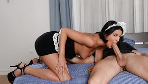 Tremendous maid with big tits Coco de Mal is enjoying cum in her mouth