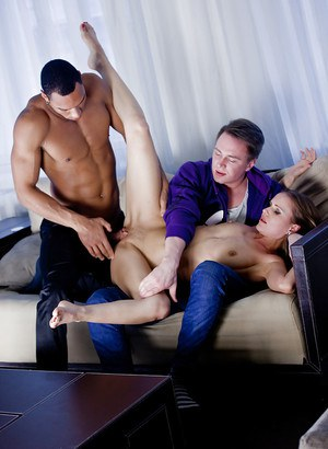 Sabrina Moor gets pleased by two muscular dudes in all of her holes