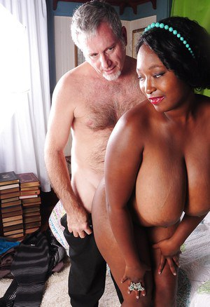 Fat ebony whore Marie pleasing a white man and his hard dick here
