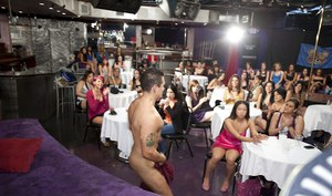 Non nude girls are partying hard with strippers and doing blowjobs