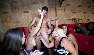 Clothed party features sweet blowjobs and handjobs from hot babes