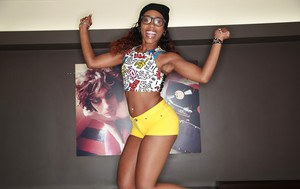 Undressing Ebony babe Chanell Heart shows off in sexy glasses