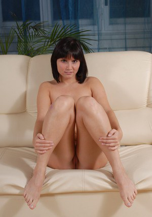 Brunette cowgirl Diane demonstrates her European pussy in close up