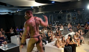 Ebony babes do blowjobs and handjobs on a wild party with a stripper
