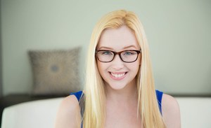 Tiny tits babe Samantha Rone shows off in her sexy glasses