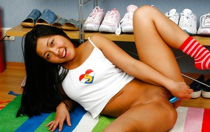 Masturbating teen babe Yung teases her Asian big tits and pussy