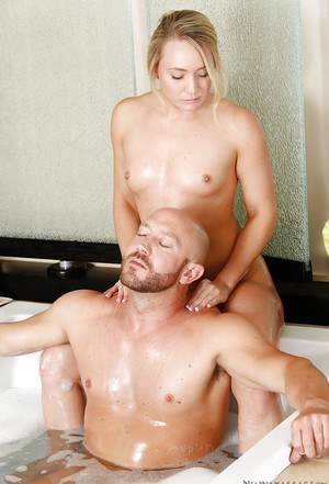 First class massage in the bathroom from sexy beauty AJ Applegate