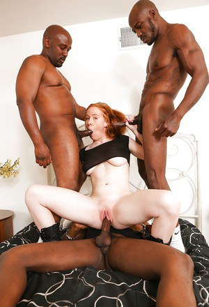 Kierra Wilde enjoys an Interracial gangbang with three black dudes