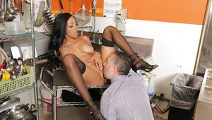 Big tits Ebony chick Anya Ivy gets cumshot right in her office
