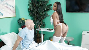 Ebony milf Codi Bryant gets nailed in her sexy nurse uniform