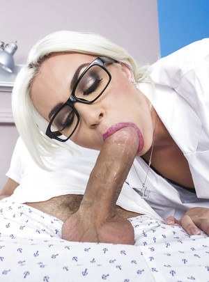 Marvelous chick Gigi Allens gets fucked hardcore in stockings and uniform