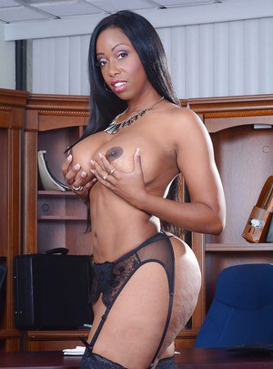 Ebony office lady with big tits Codi Bryant undresses her suit