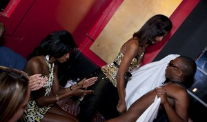 Wild CFNM party with crazy Ebony girls, who love doing blowjobs