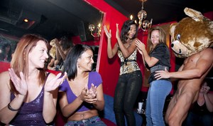 Busty party girls enjoy a CFNM fun with hot strippers dancing around