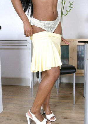 Close up undressing from an amateur teen Karis with a perfect Ebony ass