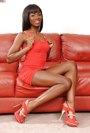 Ebony babe Ana Foxxx demonstrates her amazing tiny tits and long legs