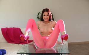 Pissing babe Christy Charming demonstrates her European pussy