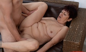 Chubby granny Anastasia has her pussy pounded hardcore with a big cock
