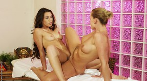 European lesbian Kathia Nobili licks ass and pussy of her client