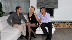 Lana Roberts dose blowjob and gets double penetrated in a threesome