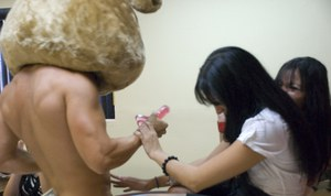 CFNM party with non nude ladies and a stunning stripper in a bear hat