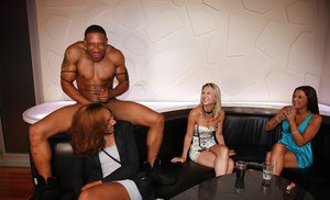 CFNM Interracial party with clothed beauties in tight jeans