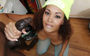 Tight Ebony ass of Serena Ali is nailed hardcore in a pantyhose