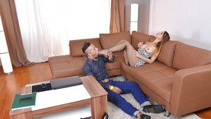 Foot fetish scene features teen cowgirl with long legs Taylor Sands