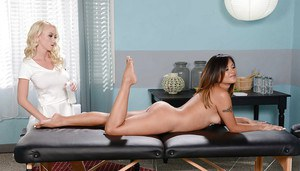 Lesbian girl Kaylani Lei enjoys sweet massage from Madison Scott