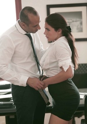 Office fuck with an European brunette Valentina Nappi and her boss