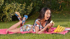 Outdoor masturbating scene from an Asian babe with brunette hair Danika