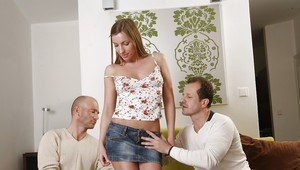 Anal double penetration of an European girl Morgan Moon in a threesome groupsex