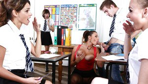 Sensual Jane is giving a nasty deep blowjob in the classroom!
