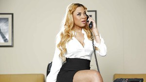 Working model Jade Aspen is talking on the phone and playing with tits