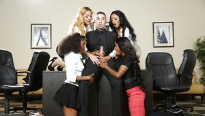 Ebony Jasmine Webb shows how deep her mouth is for her boss!