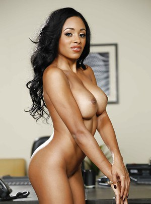 Babe ebony Anya Ivy is demonstrating her nice big boobies in close-up